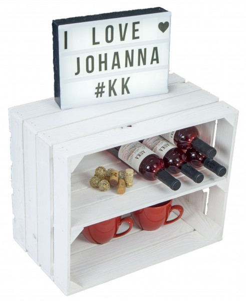Obstkistenregal Johanna neu - weiß - längs