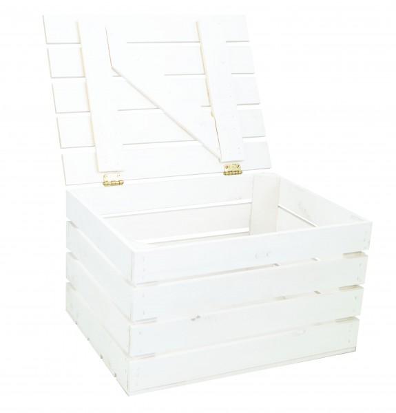 Holztruhe weiss mit Deckel 48 x 36 x 27cm